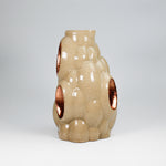 Load image into Gallery viewer, Side view of 3D printed stone and copper leaf pottery vase