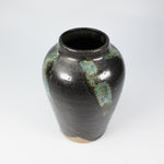 Load image into Gallery viewer, Small black and green pottery vase