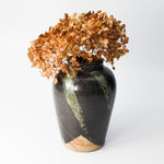 Load image into Gallery viewer, Small black and green pottery vase with dried flowers in