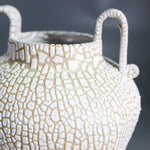 Load image into Gallery viewer, Close up of top of Grecian style pottery vase with crawl glaze.