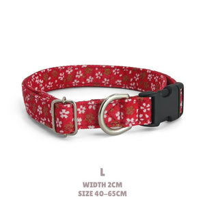 red and pink puppy colla Japanese fabric collar gift for new dogs Sakura puppy collar Small dog collar