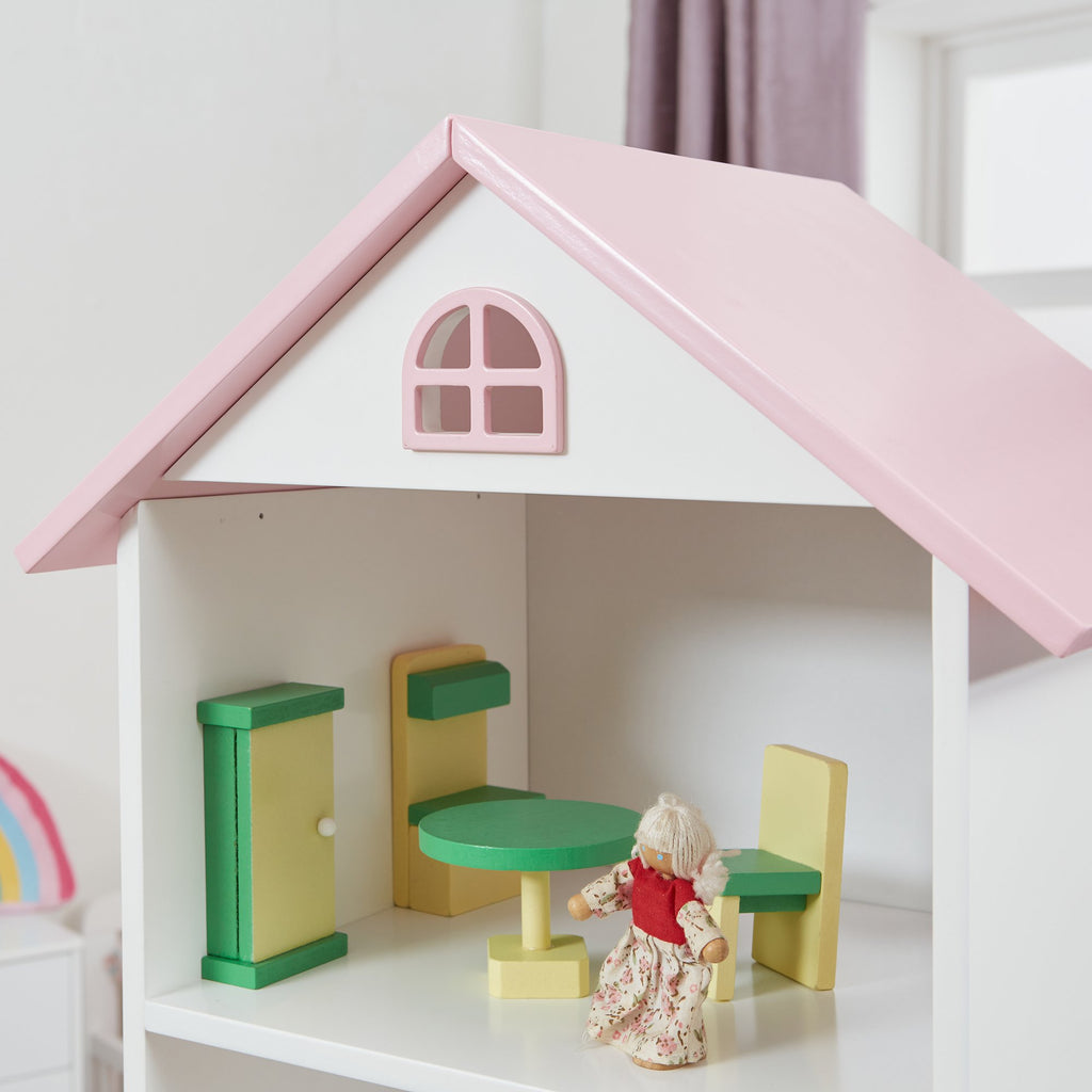 TY2008-white-tall-doll-house-bookcase-with-pink-roof-lifestyle-close-up