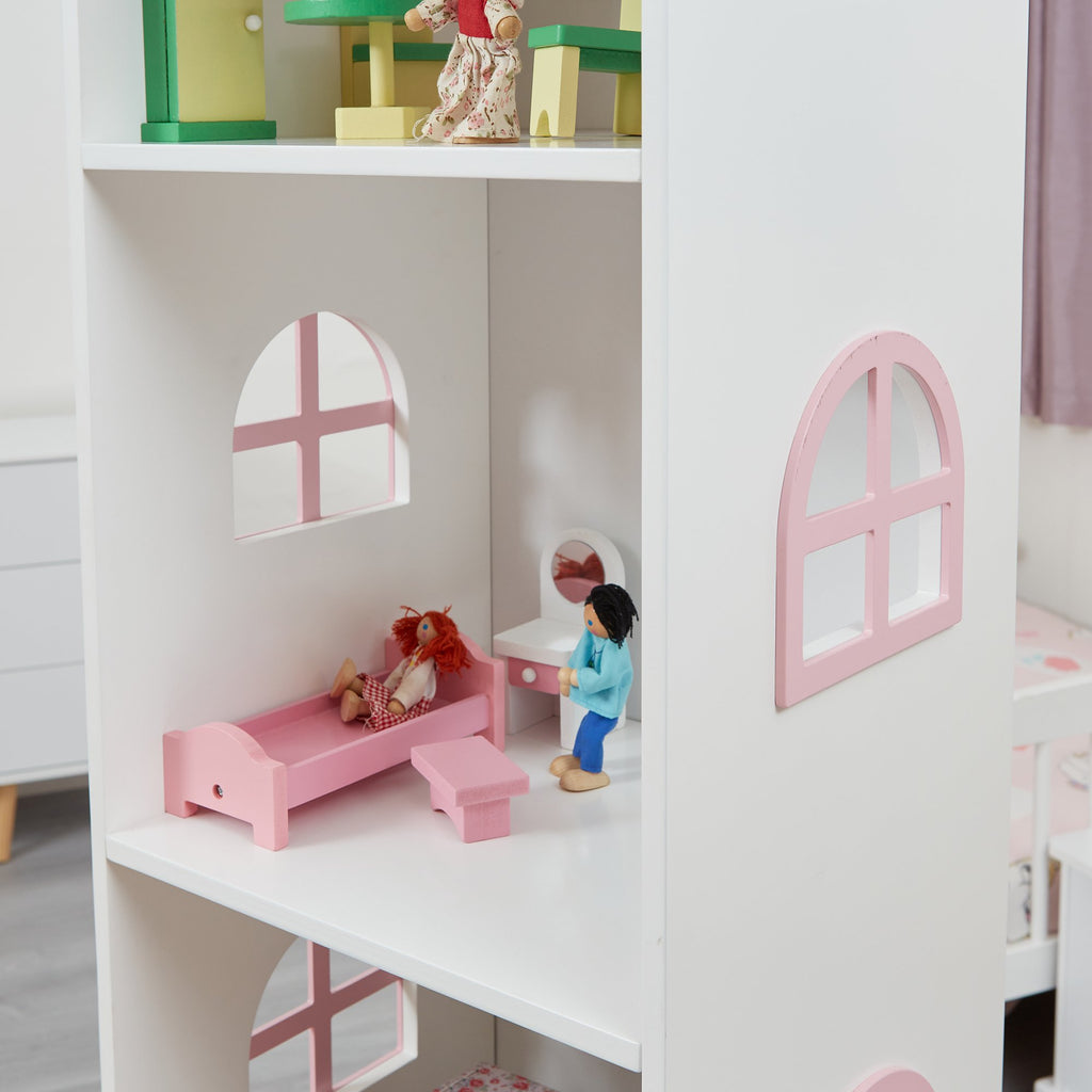 TY2008-white-tall-doll-house-bookcase-with-pink-roof-lifestyle-close-up-2