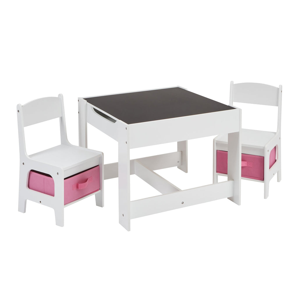 TF5412-W-white-table-and-2-chairs-with-pink-bins-chalkboard
