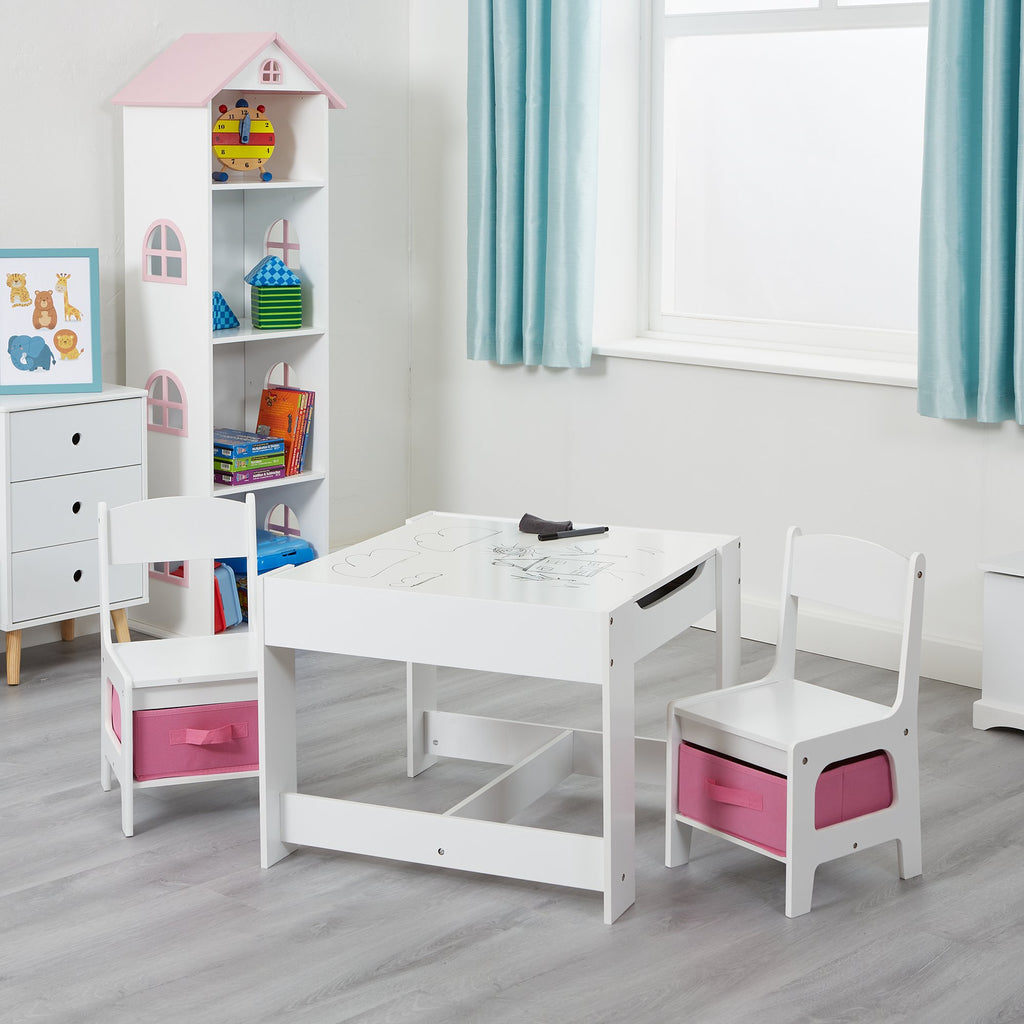 TF5412-W-white-table-and-2-chairs-with-pink-bins-lifestyle-dry-wipe-board