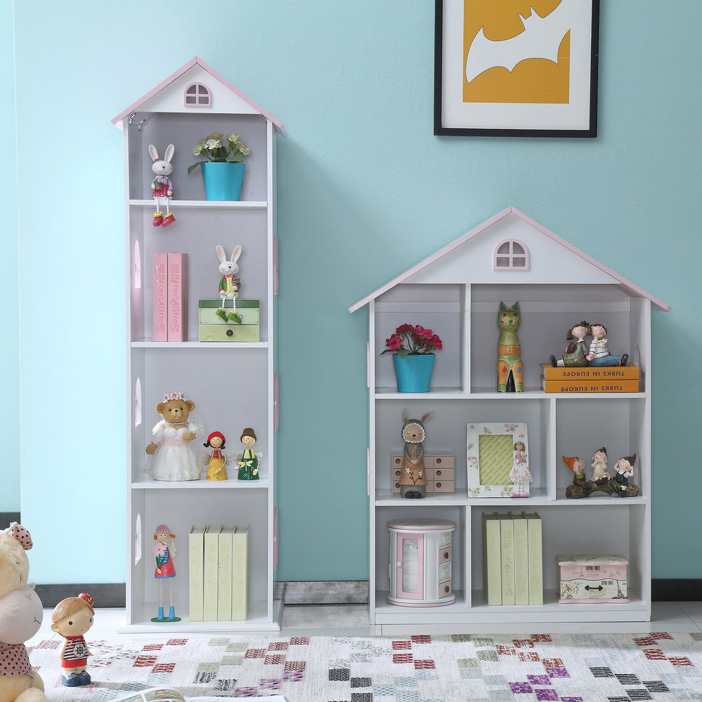TY2008-white-tall-doll-house-bookcase-with-pink-roof-lifestyle-with-LHT10101