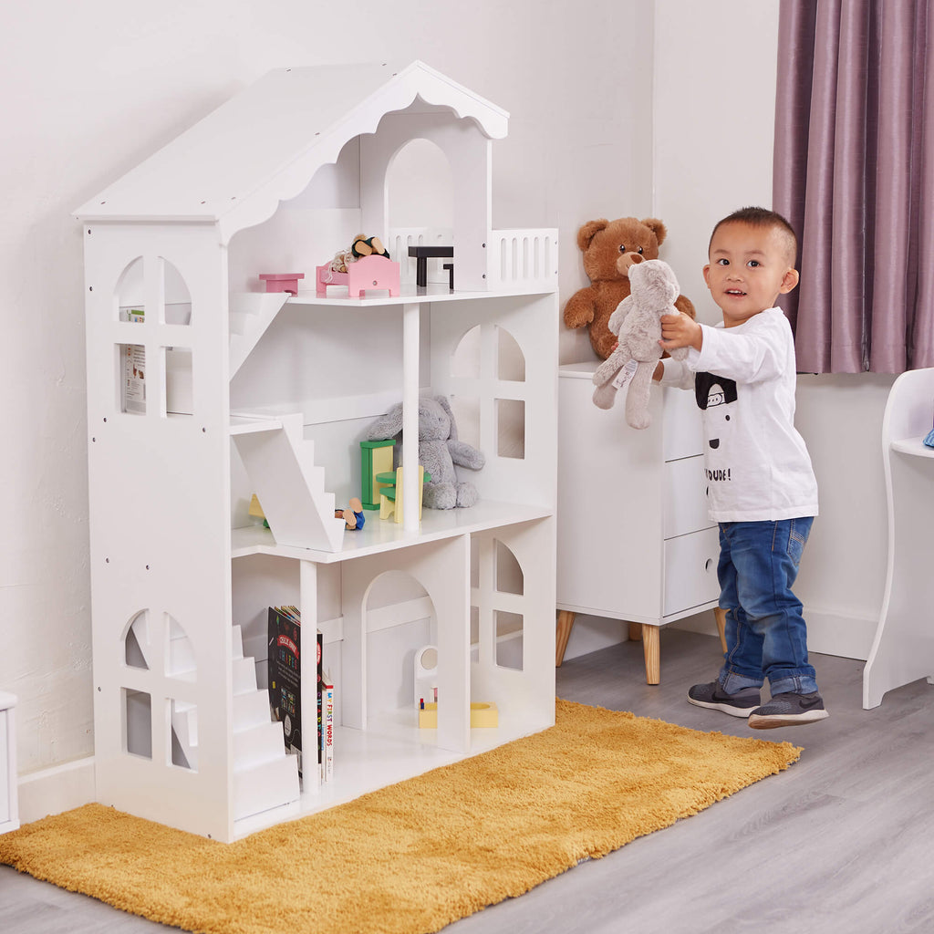 LHT10091-white-dolls-house-bookcase-with-balcony-lifestyle-jamie-1