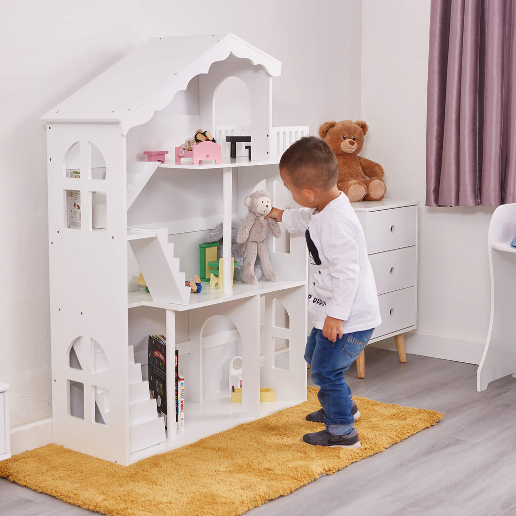 LHT10091-white-dolls-house-bookcase-with-balcony-lifestyle-jamie-2