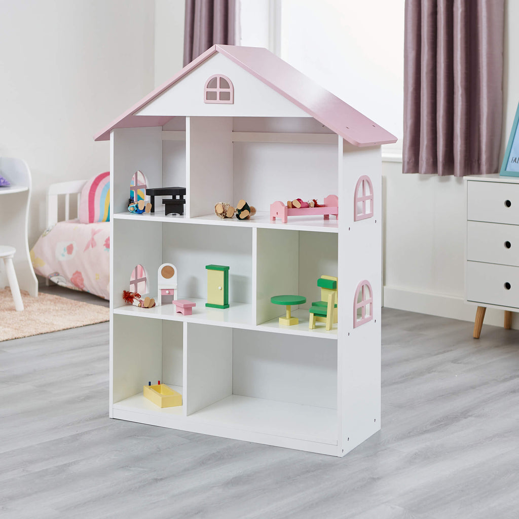 LHT10101-white-dolls-house-bookcase-with-pink-roof-lifestyle-1
