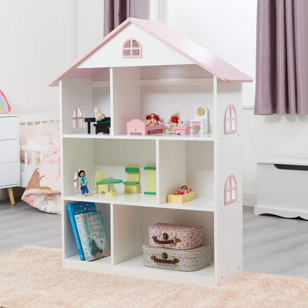 LHT10101-white-dolls-house-bookcase-with-pink-roof-lifestyle-2