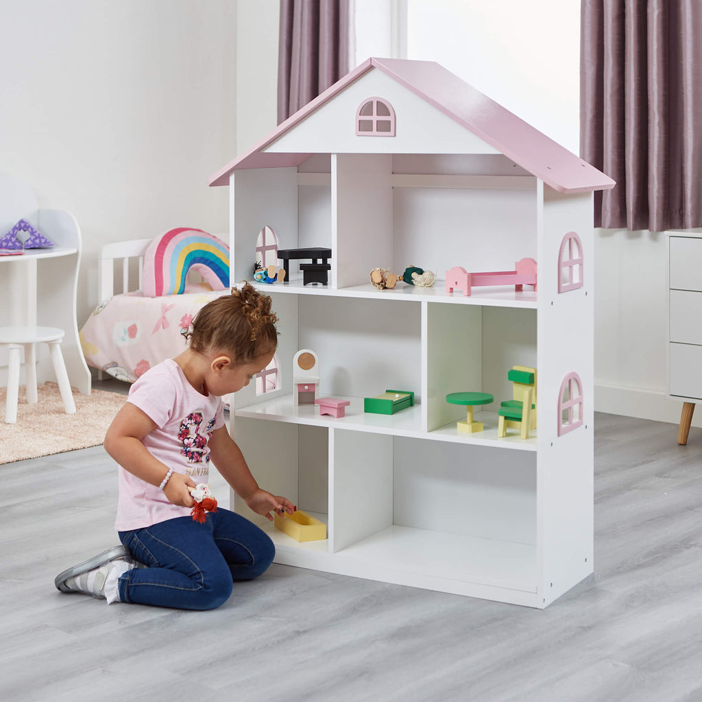 LHT10101-white-dolls-house-bookcase-with-pink-roof-lifestyle-tia-1