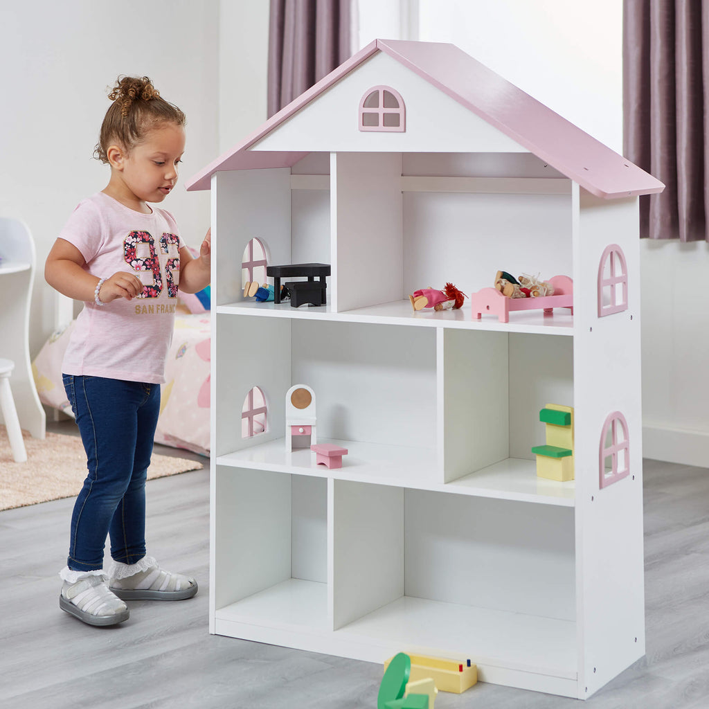 LHT10101-white-dolls-house-bookcase-with-pink-roof-lifestyle-tia-2