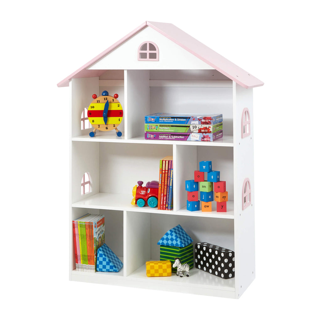 LHT10101-white-dolls-house-bookcase-with-pink-roof-product-props