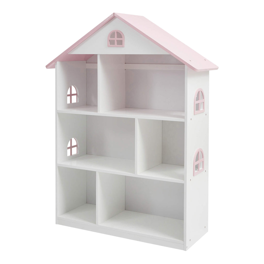 LHT10101-white-dolls-house-bookcase-with-pink-roof-product