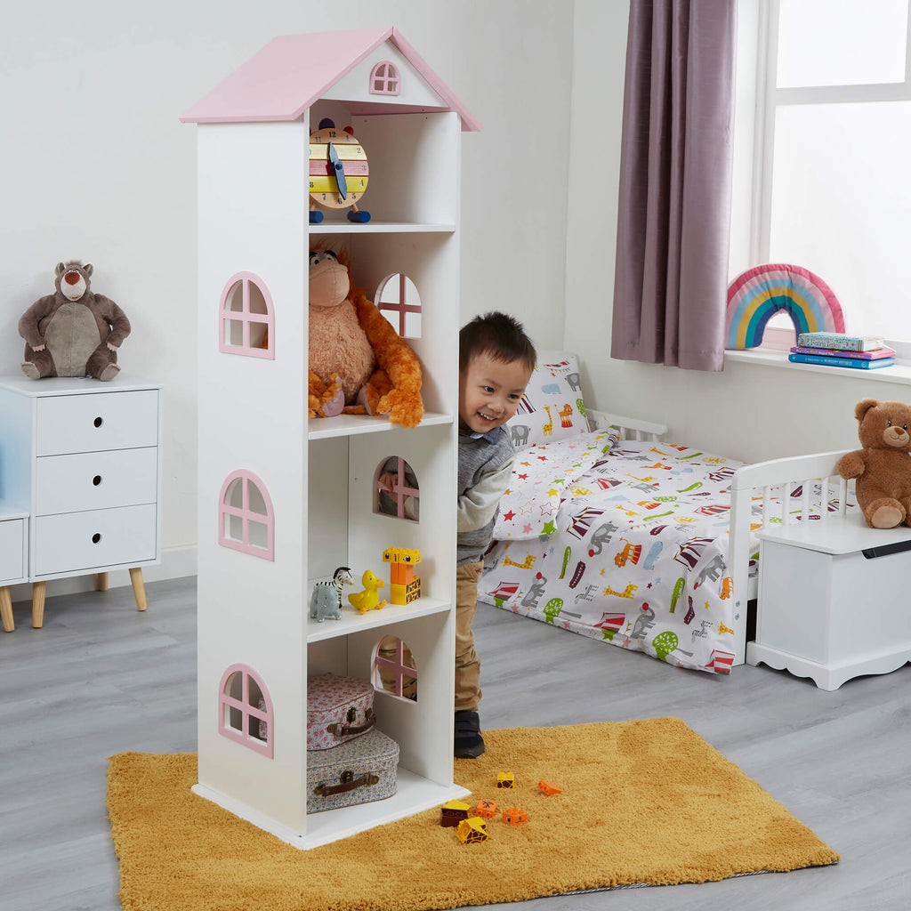 TY2008-white-tall-doll-house-bookcase-with-pink-roof-lifestyle-jamie-1