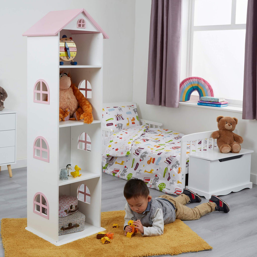 TY2008-white-tall-doll-house-bookcase-with-pink-roof-lifestyle-jamie-2