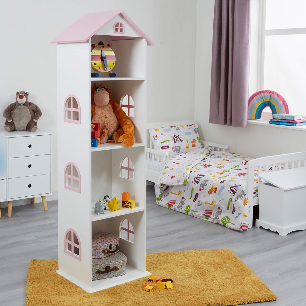 TY2008-white-tall-doll-house-bookcase-with-pink-roof-lifestyle-accessories