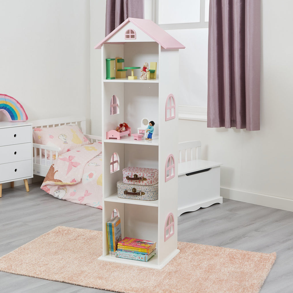 TY2008-white-tall-doll-house-bookcase-with-pink-roof-lifestyle-accessories-1