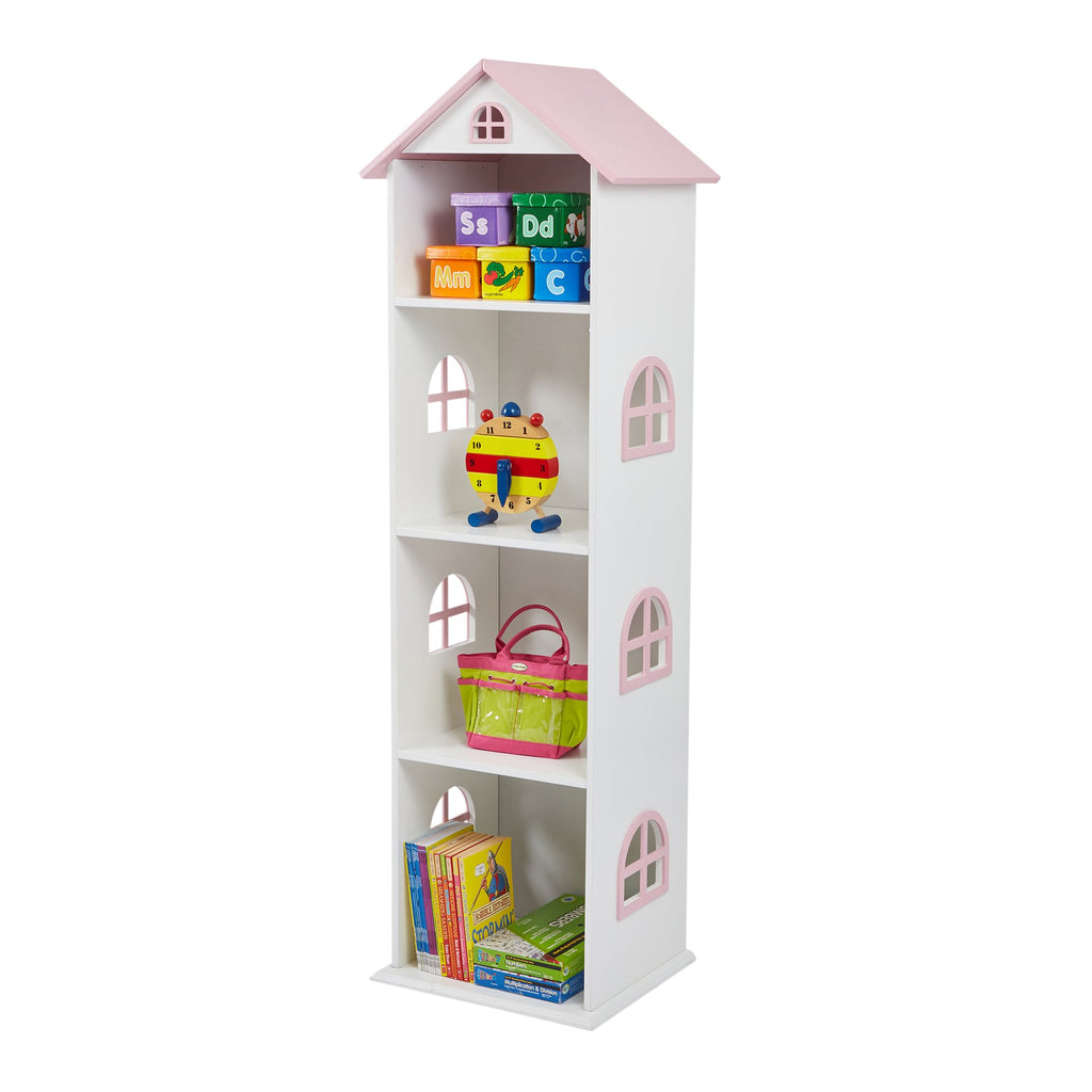 TY2008-white-tall-doll-house-bookcase-with-pink-roof-accessories