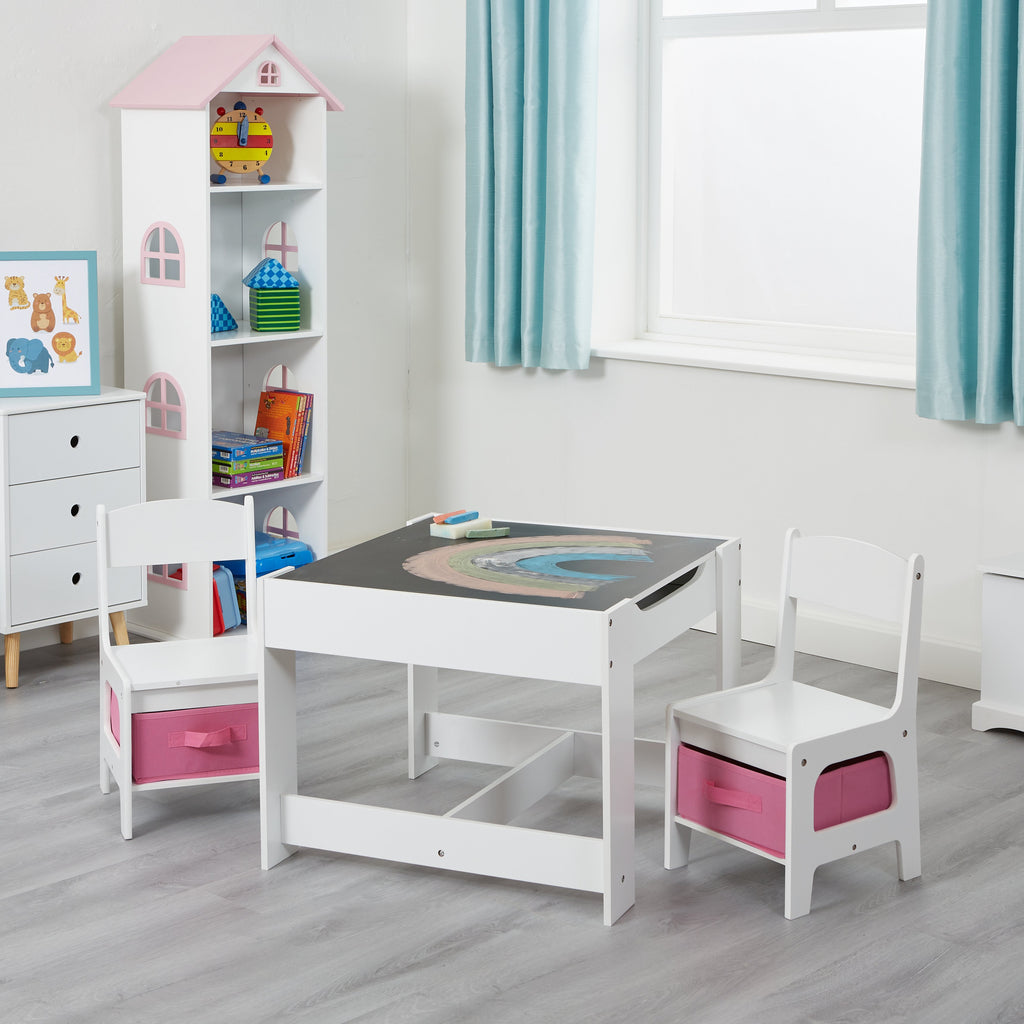 TF5412-W-white-table-and-2-chairs-with-pink-bins-lifestyle-chalkboard