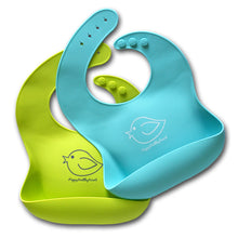 Load image into Gallery viewer, E-Z-Clean Silicone Bibs - Set of Two