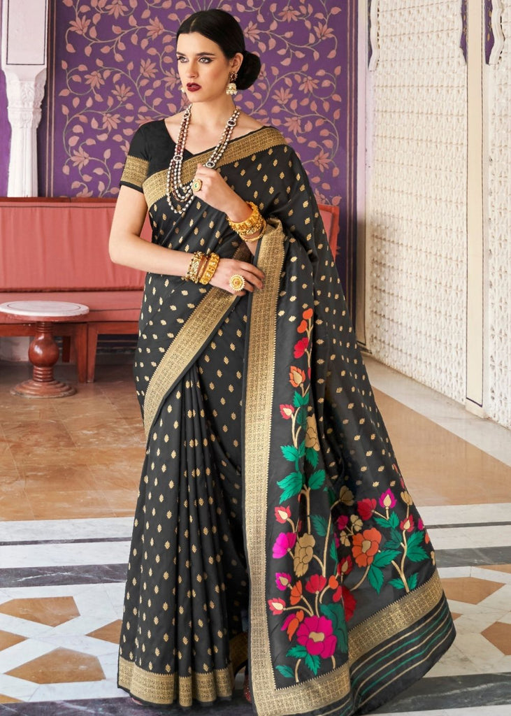 Jade Black Designer Handloom Weaving Silk Saree