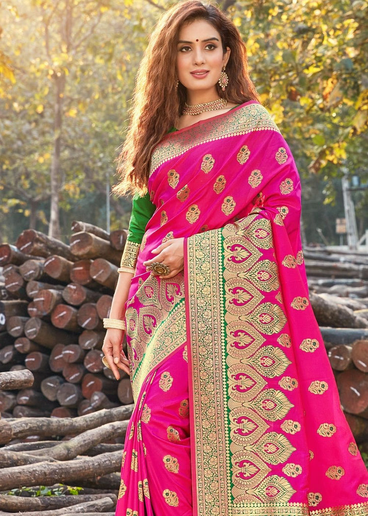 Hot Pink Pure Soft Silk Woven Saree with Heavy Zari  Border and overall Buti work