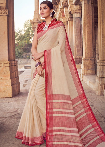 Parchment White Cotton Linen Saree with Brocade Blouse