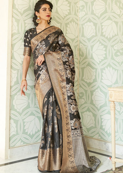Sable Black Handloom Weaving Silk Saree