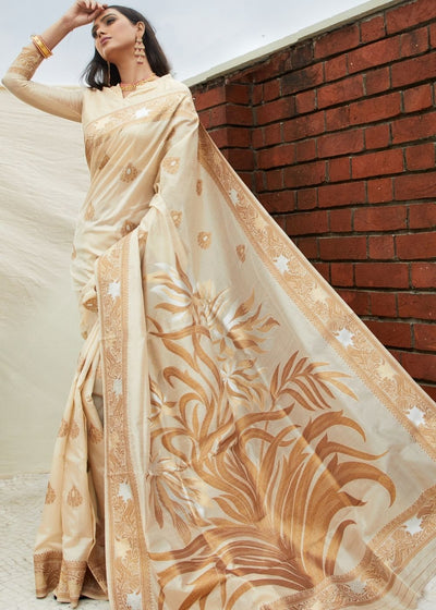 Ivory White Handloom Weaving Silk Saree