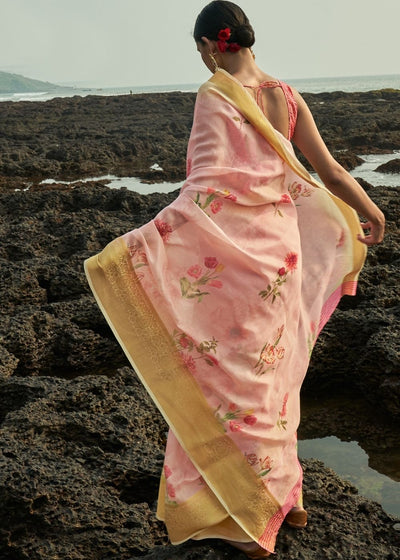 Flamingo Pink Floral Print Cotton-Linen Saree