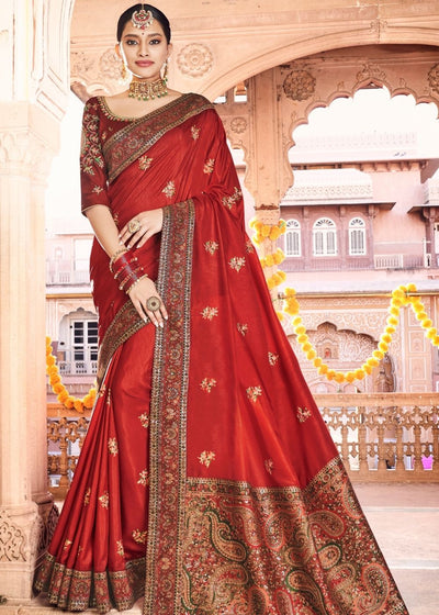 Red Dola Silk Saree having Kashmiri Brocade Pallu