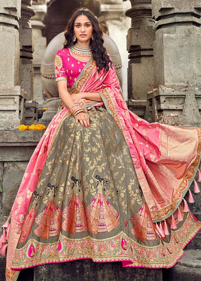 Pink And Grey Banarasi Silk Lehenga