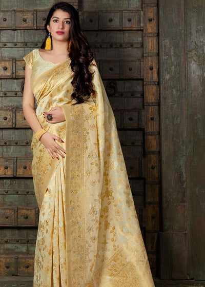 Ivory Banarasi Silk Floral Woven Saree with Golden Border and Pallu