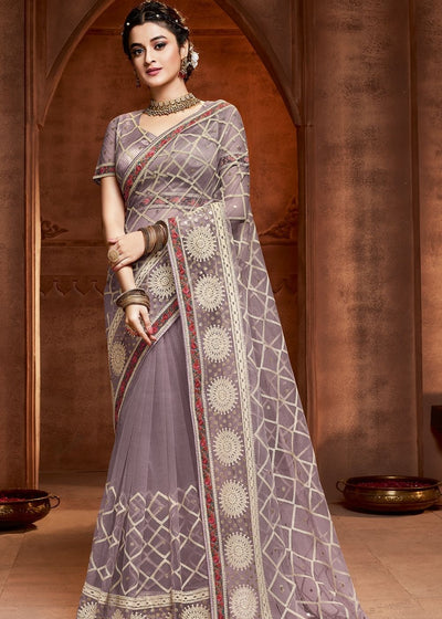 Mauve Designer Embroidered Net Saree