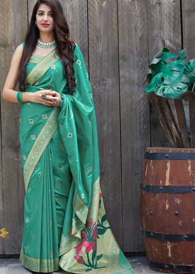 Green Silk Saree with Golden Zari Border