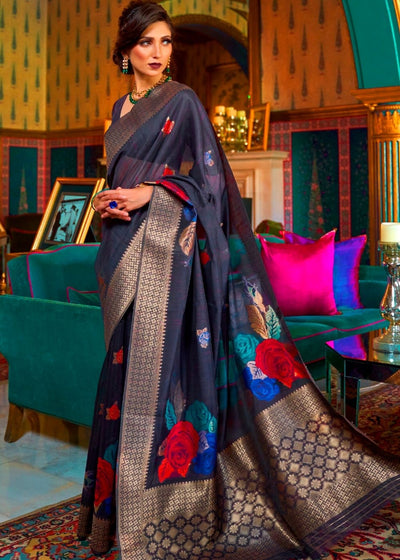Indigo Blue Soft Linen WovenSilk Saree with Zari work and Floral Motifs