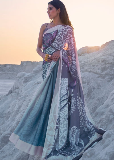 Cerulean Blue and Violet Digital Printed Crepe Silk Saree