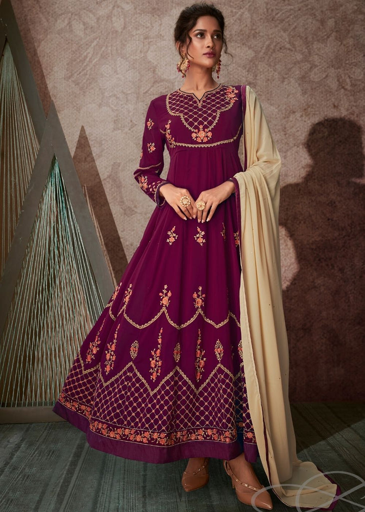 Magenta Georgette Embroidered Anarkali Suit with Stone work