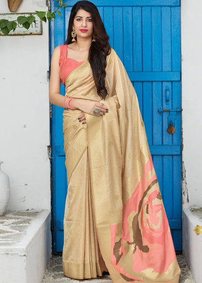 Golden Silk Saree with Zari Border and Abstract Digital Print on Pallu