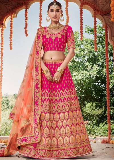 Hot Pink Silk Bridal Lehenga Choli with Heavy Thread Embroidery and Stone work