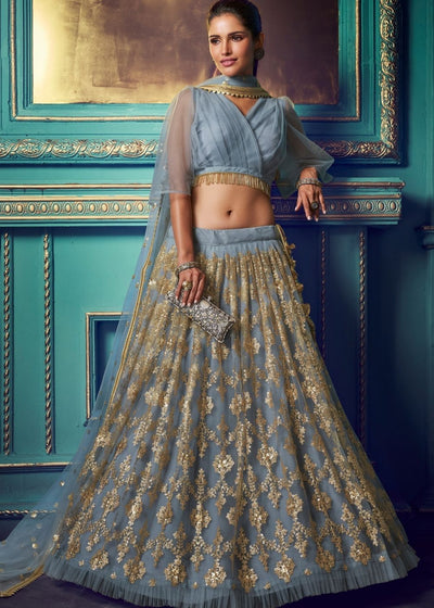 Pewter Grey Designer Soft Net Lehenga Choli with Sequin work and Ruffles Sleeves