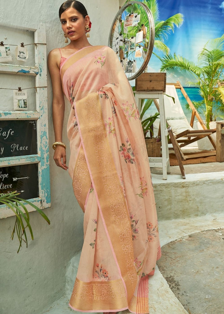 Soft Peach Floral Print Cotton-Linen Saree