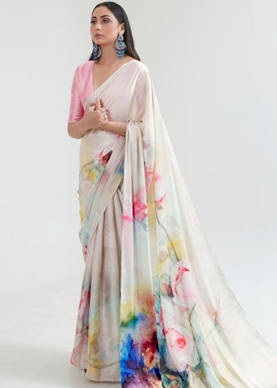 Ivory White Satin Silk Digital Printed Saree