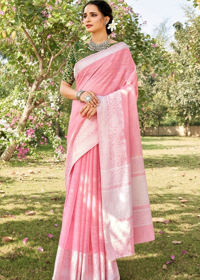 Carnation Pink Soft Cotton Linen Saree