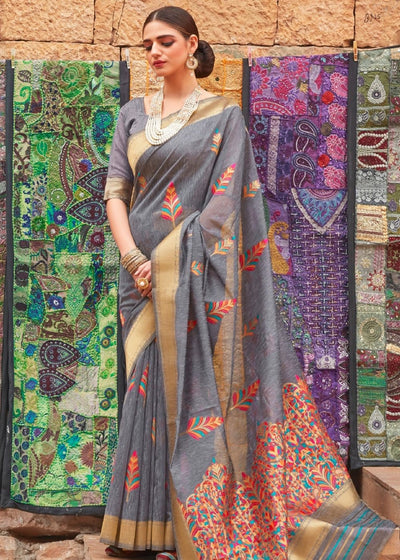 Seal Grey Linen Silk Saree with Colorful Weaving work