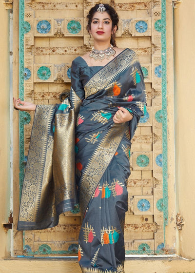 Dark Grey Digital Print Silk Saree with Zari work Border and Pallu