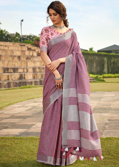 Mauve Soft Linen Silk Saree with Khadi Print and Tassels on Pallu