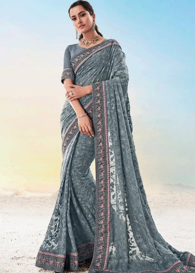 Dark Grey Pure Georgette Saree with Lucknowi Chikankari