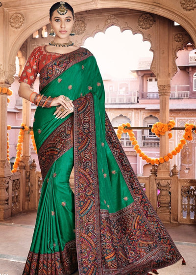 Dark Green Dola Silk Saree having Kashmiri Brocade Pallu